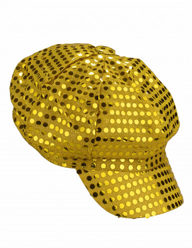 Casquette disco à sequins or adulte-1