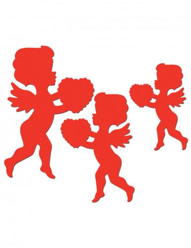6 décorations rouges motif Cupidon