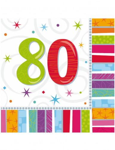16 Serviettes en papier 80 ans 33 x 33 cm