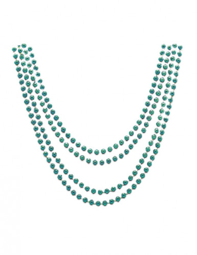 4 Colliers verts métallisés 81 cm