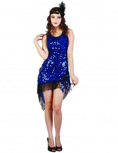 Déguisement charleston sexy femme bleu à sequins
