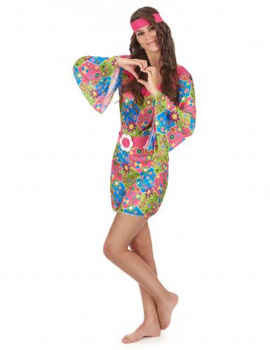 Déguisement hippie femme à fleurs-1