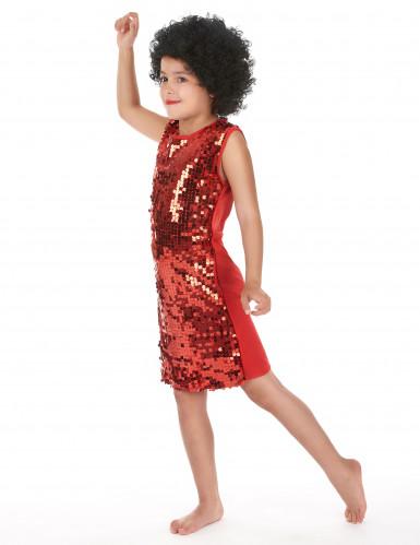 Déguisement disco fille rouge à paillettes-1