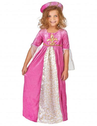 Déguisement princesse médiévale rose et or fille-1