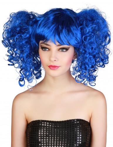 Perruque bleue à couettes femme