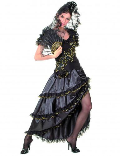 Déguisement danseuse de flamenco femme noir et doré