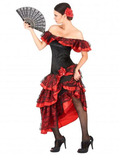 Déguisement danseuse de flamenco femme rouge et noir-1