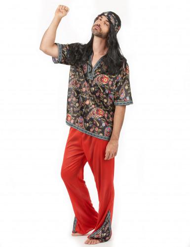 Déguisement hippie rouge homme-1
