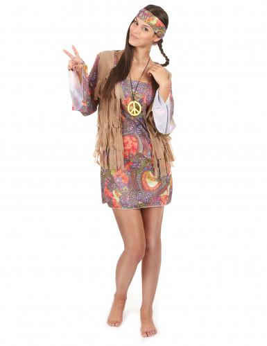 Déguisement hippie rouge et violet femme