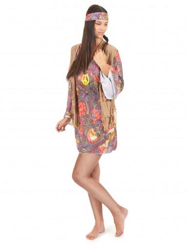 Déguisement hippie rouge et violet femme-1