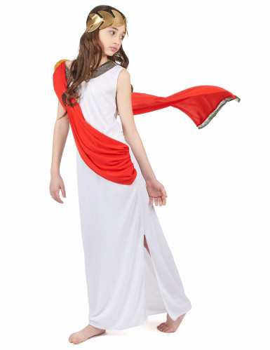 Déguisement déesse romaine à drapé rouge fille-1