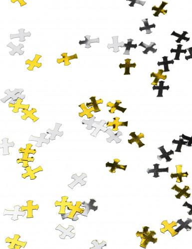 Confettis croix argent et or