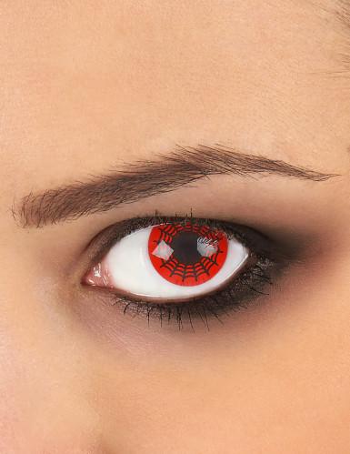 Lentilles fantaisie toile d'araignée noire et rouge adulte Halloween