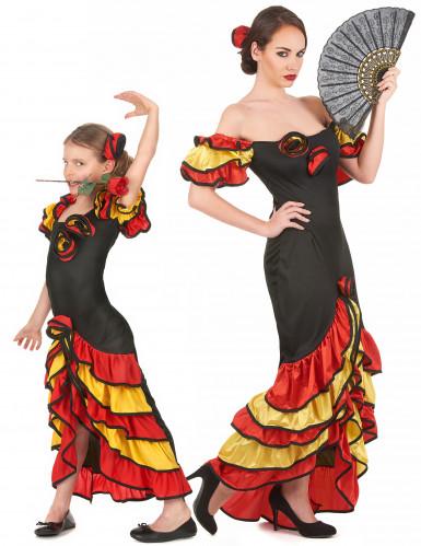 Déguisement couple danseuse flamenco mère et fille