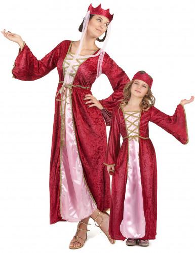 Déguisement de couple reine médiévale mère et fille