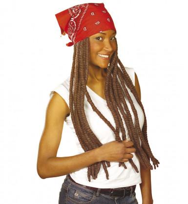 Perruque rasta marron et bandana rouge adulte