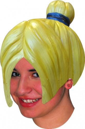 Perruque manga jaune coiffure chignon en latex adulte femme