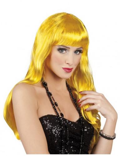 Perruque longue jaune femme