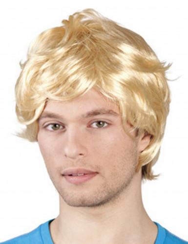 Perruque courte rétro blonde homme