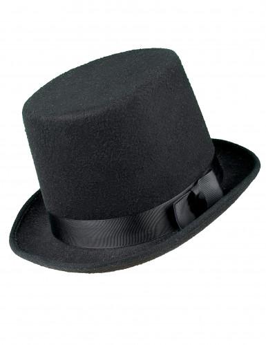 Chapeau haut de forme noir avec nœud adulte-1