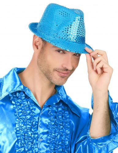 Chapeau borsalino à sequins bleu clair adulte-2