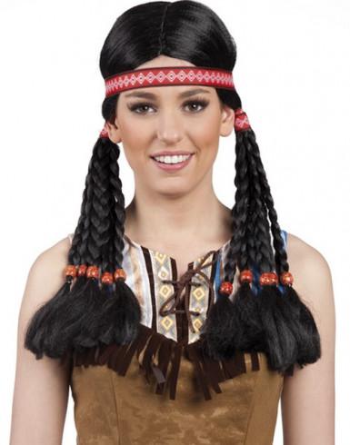 Perruque noire indienne femme