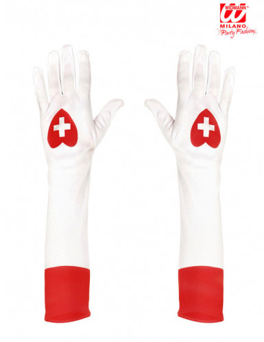 Gants longs blancs infirmière adulte-1