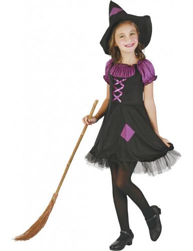 Déguisement sorcière violette avec chapeau fille