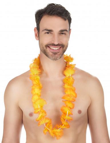 Collier Hawaï fleurs oranges-1