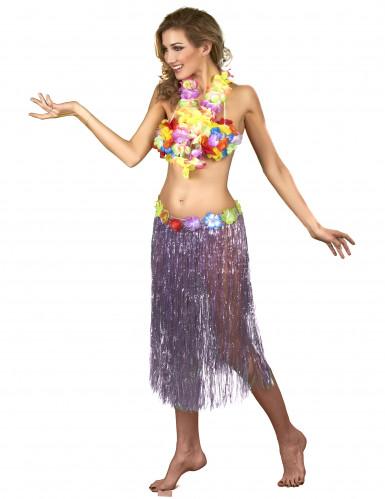 Jupe hawaïenne longue violette adulte-1