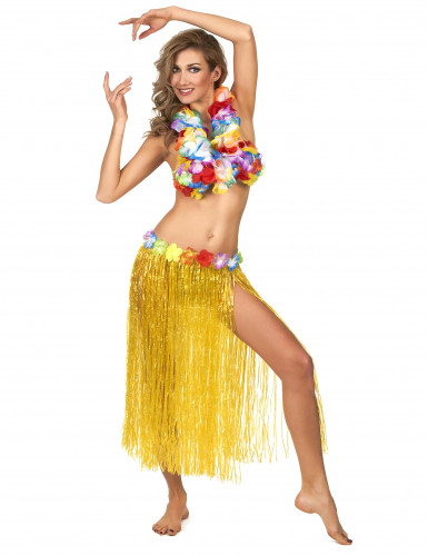 Jupe hawaïenne longue jaune adulte
