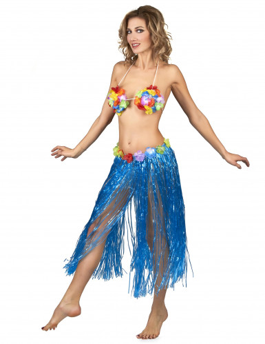 Jupe hawaïenne longue bleue adulte-1