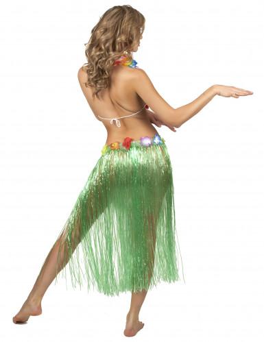 Jupe hawaïenne longue verte adulte-2