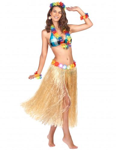 Jupe hawaïenne longue naturelle adulte