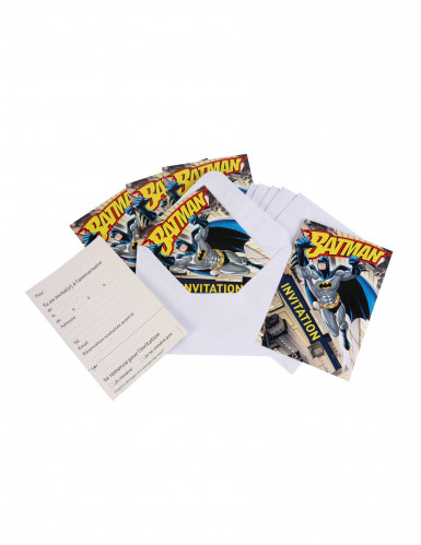 6 Cartons d'invitation avec enveloppes Batman™ 10 x 16 cm