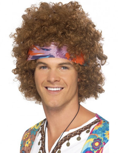 Perruque afro hippie marron homme