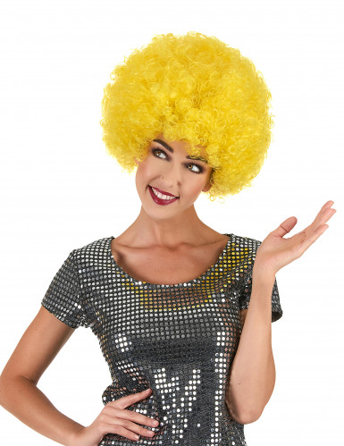 Perruque afro disco jaune confort adulte