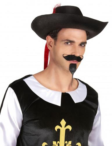 Chapeau mousquetaire noir et rouge adulte-1