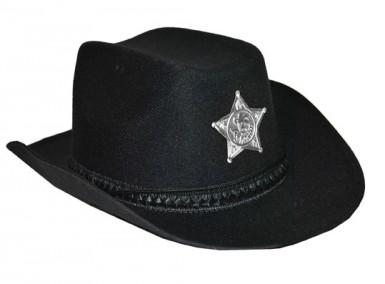 Chapeau shériff avec étoile noir