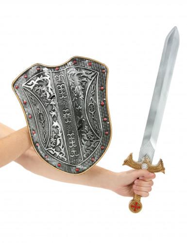Kit bouclier et épée chevalier médiéval enfant en plastique-1