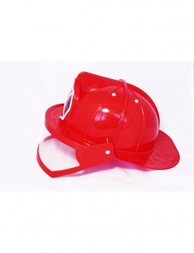 Casque pompier rouge avec visière adulte-1