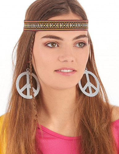 Boucles d'oreilles hippie argentées-1