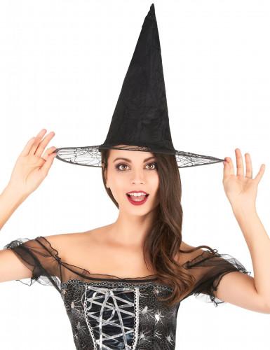 Chapeau sorcière noir toile araignée adulte Halloween-1