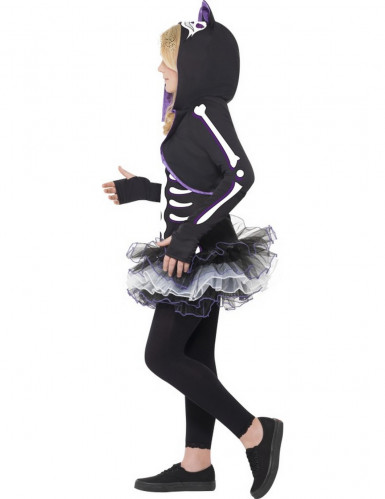 Déguisement squelette chat violet fille Halloween-1