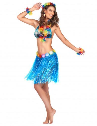 Jupe hawaïenne courte bleue adulte