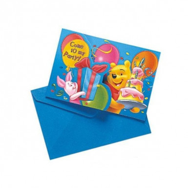 6 Cartes invitation + enveloppes Winnie birthday™