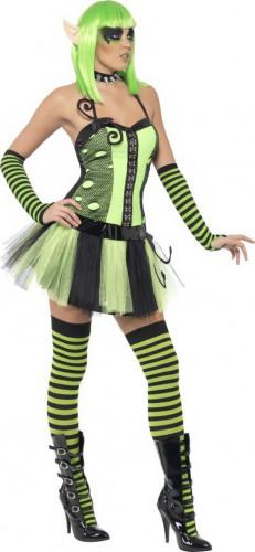 Déguisement elfe verte femme-1