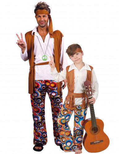 Déguisement de couple hippie père et fils