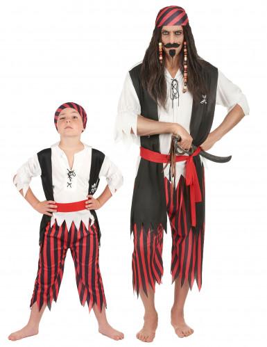 Déguisement de couple pirate père et fils