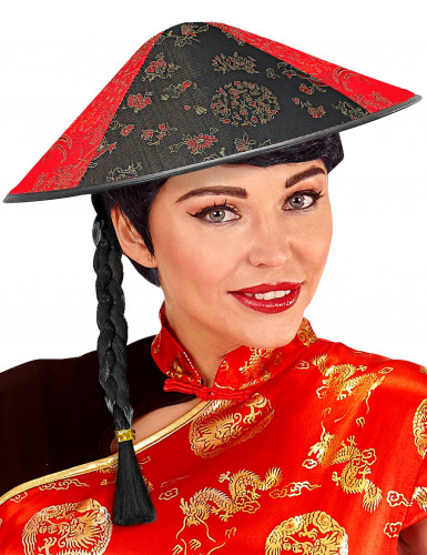 Chapeau chinois avec tresse noire-1